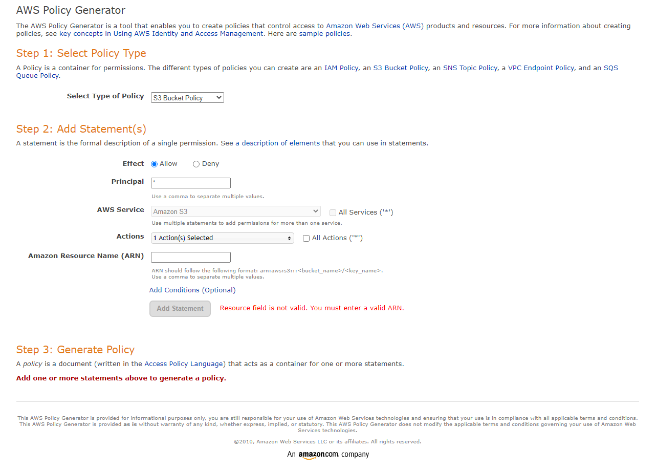 AWS Policy Generator