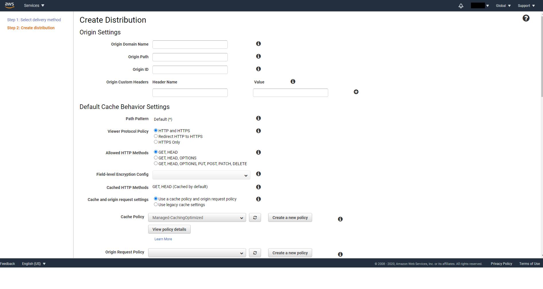CloudFront distribution creation form