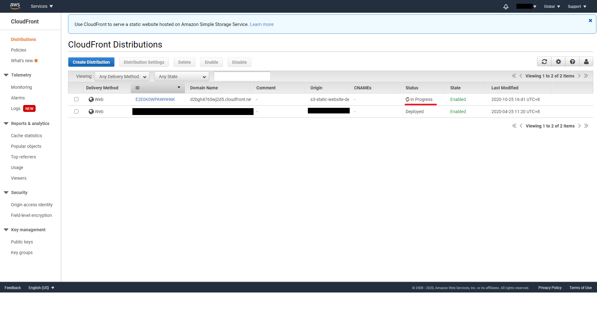CloudFront distribution create in progress