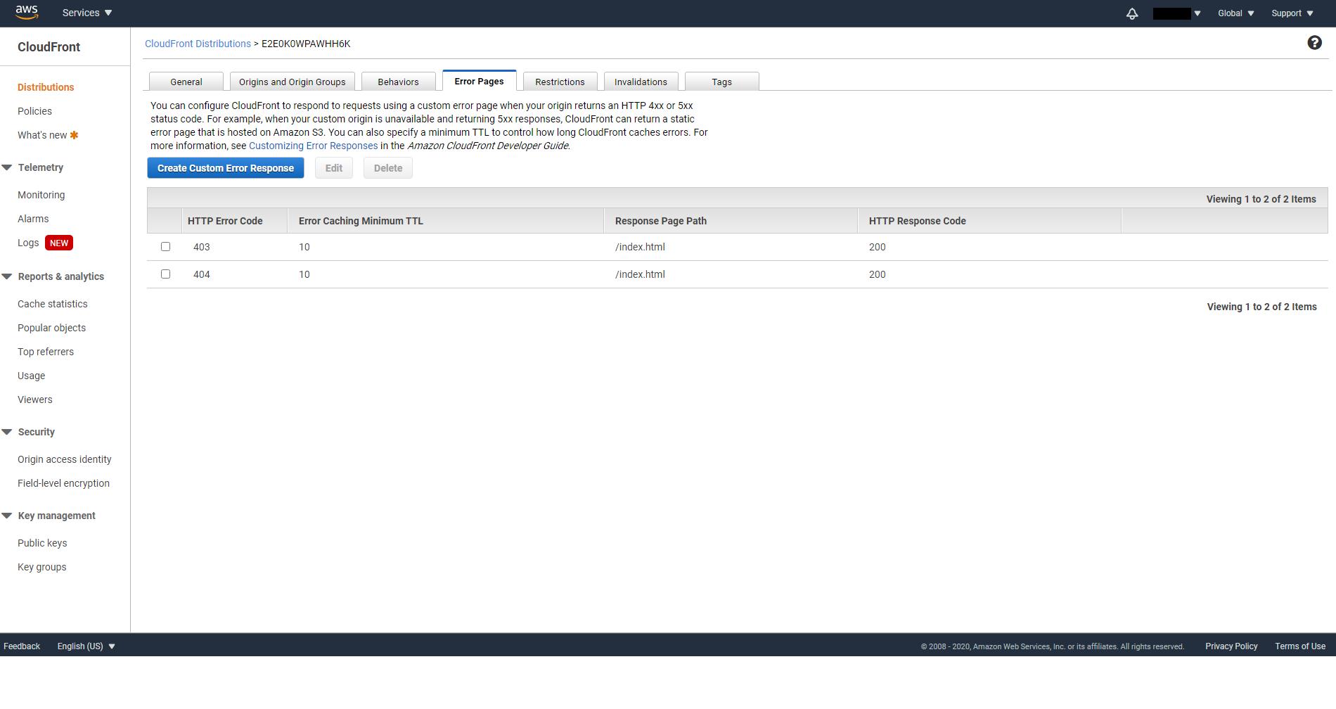 Custom error responses created on CloudFront