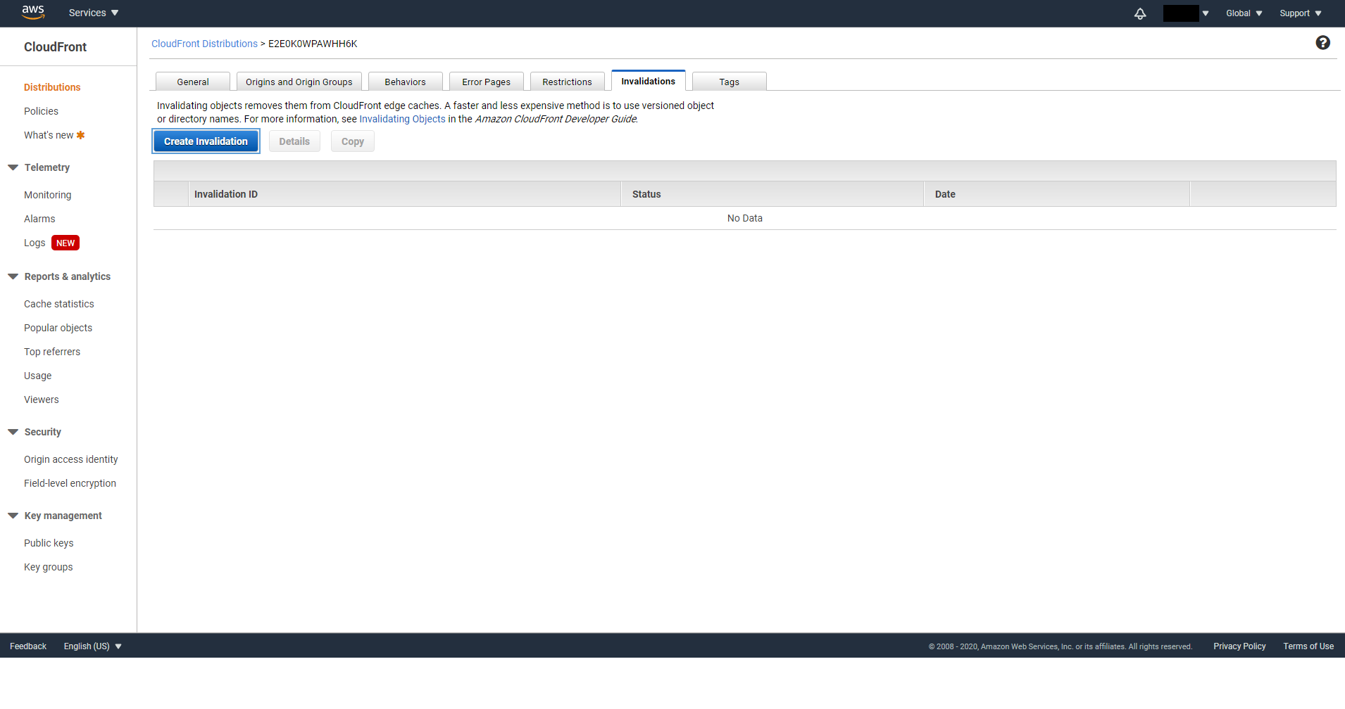 Create CloudFront Invalidation