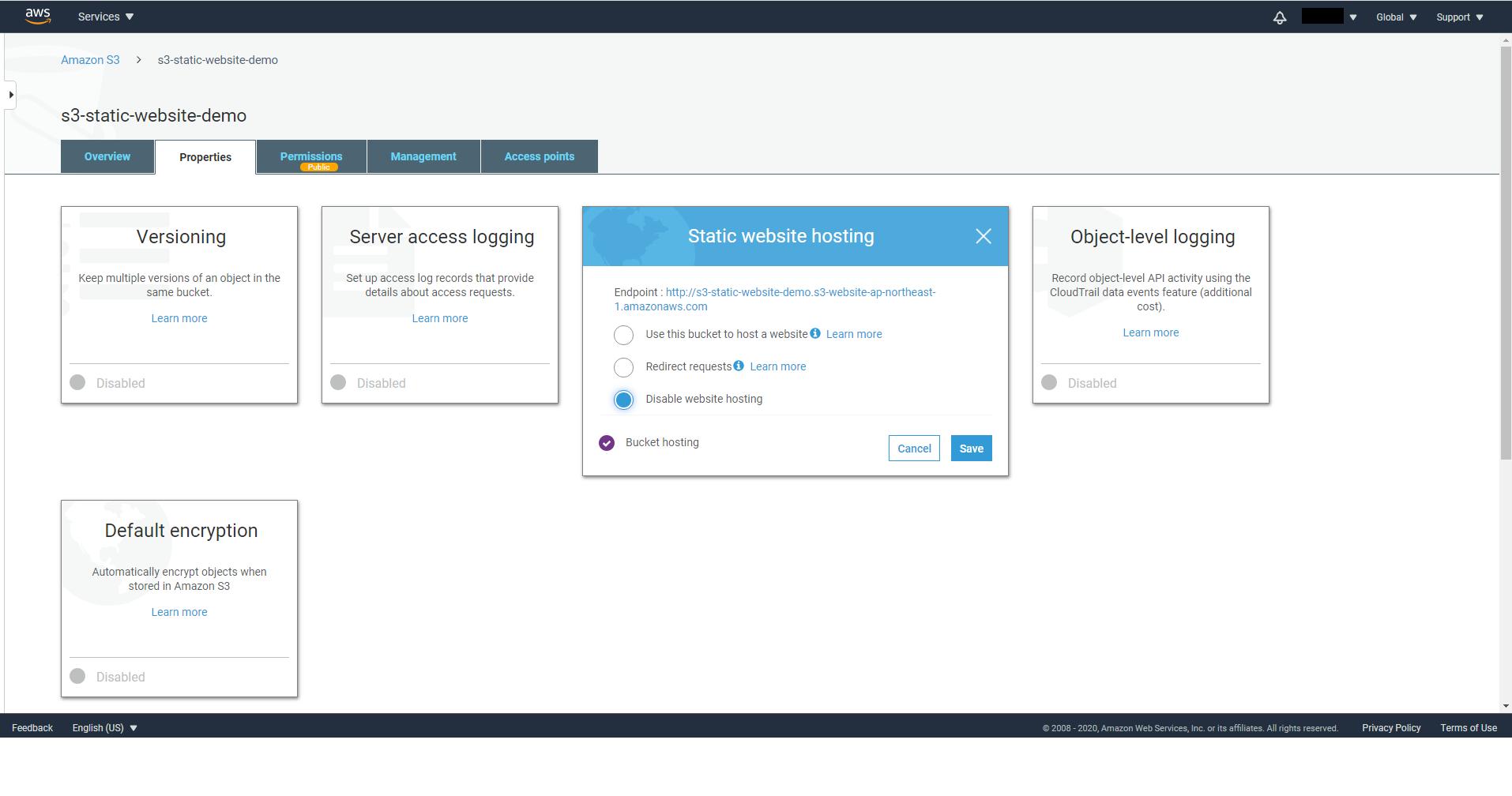 Disable S3 static website hosting