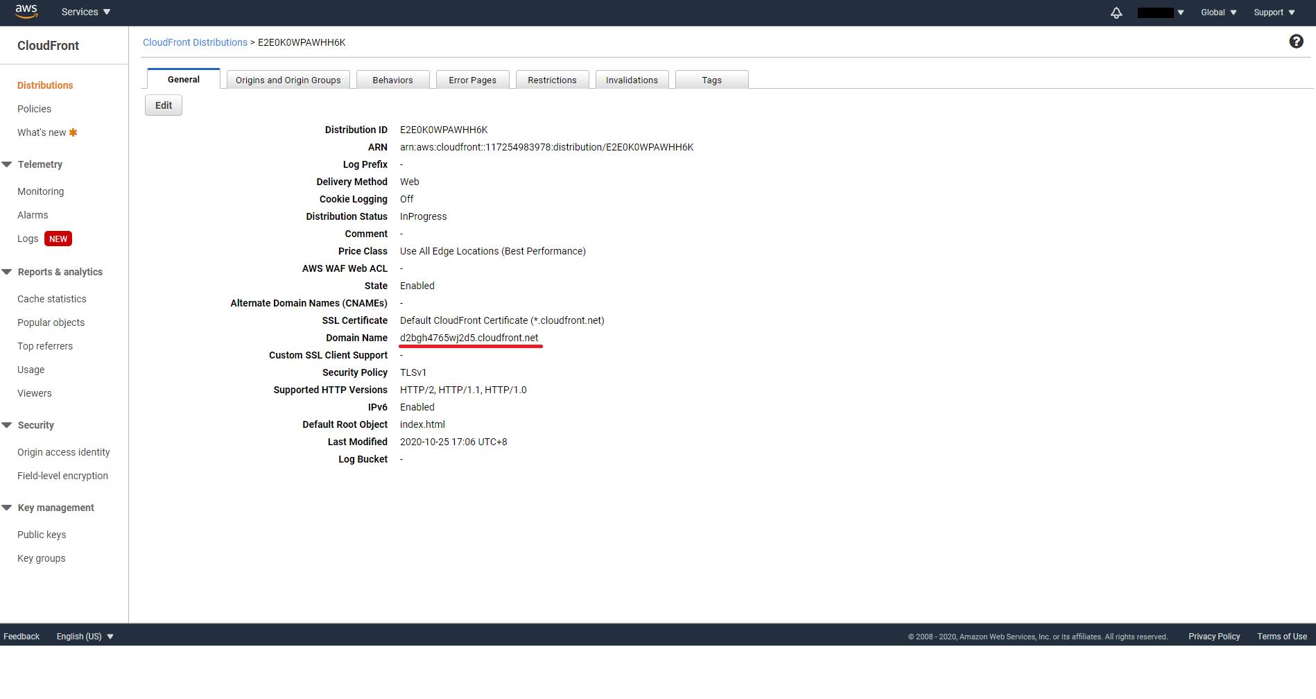 CloudFront domain name