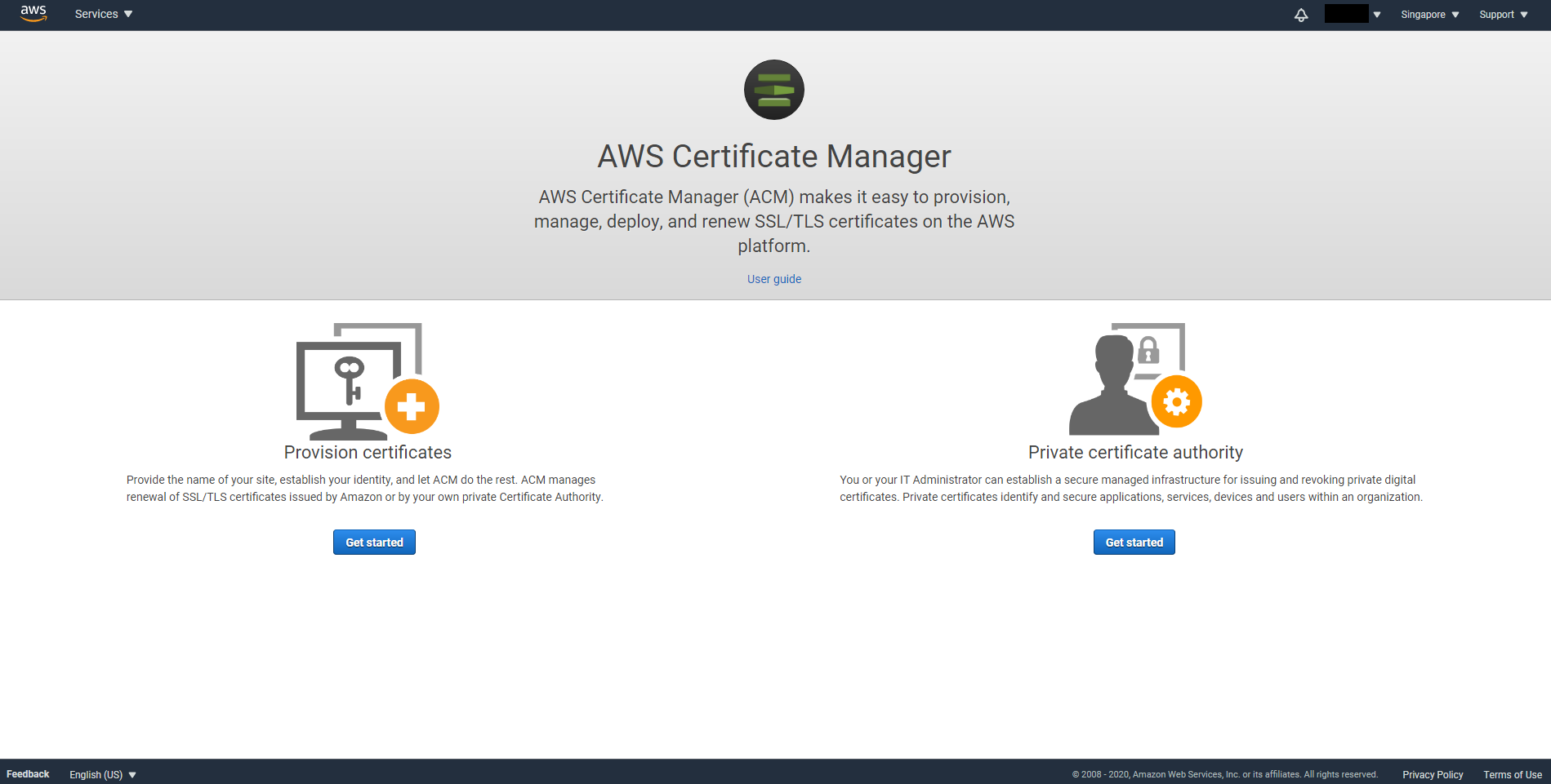 Certificate Manager console