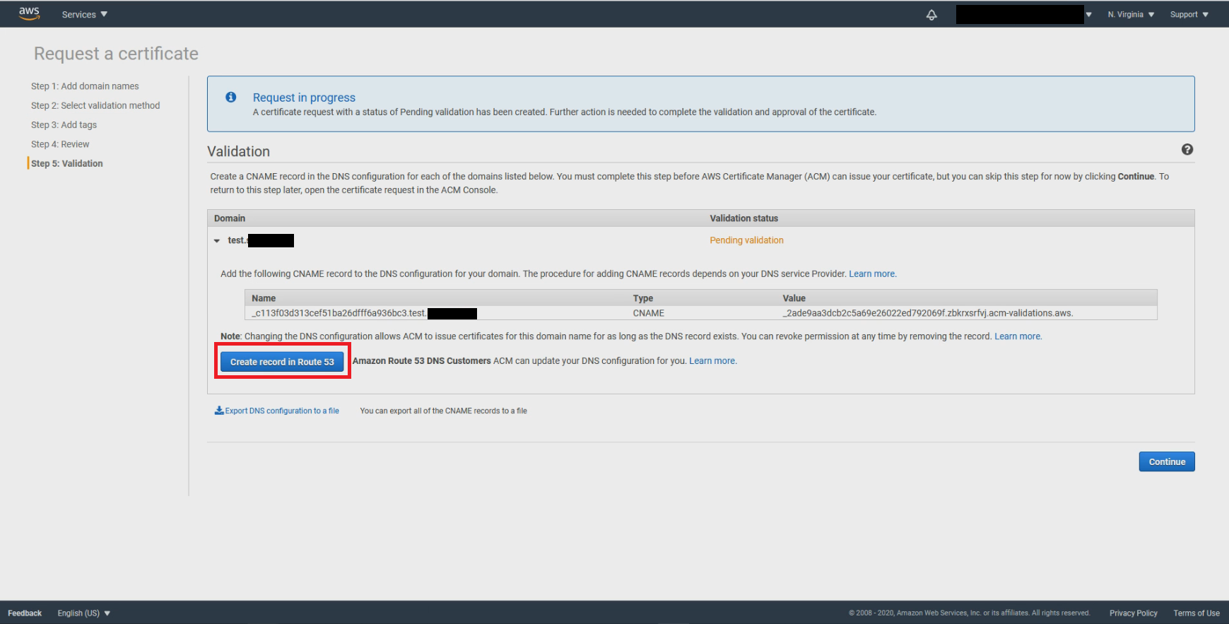 Create record in Route 53 for validation