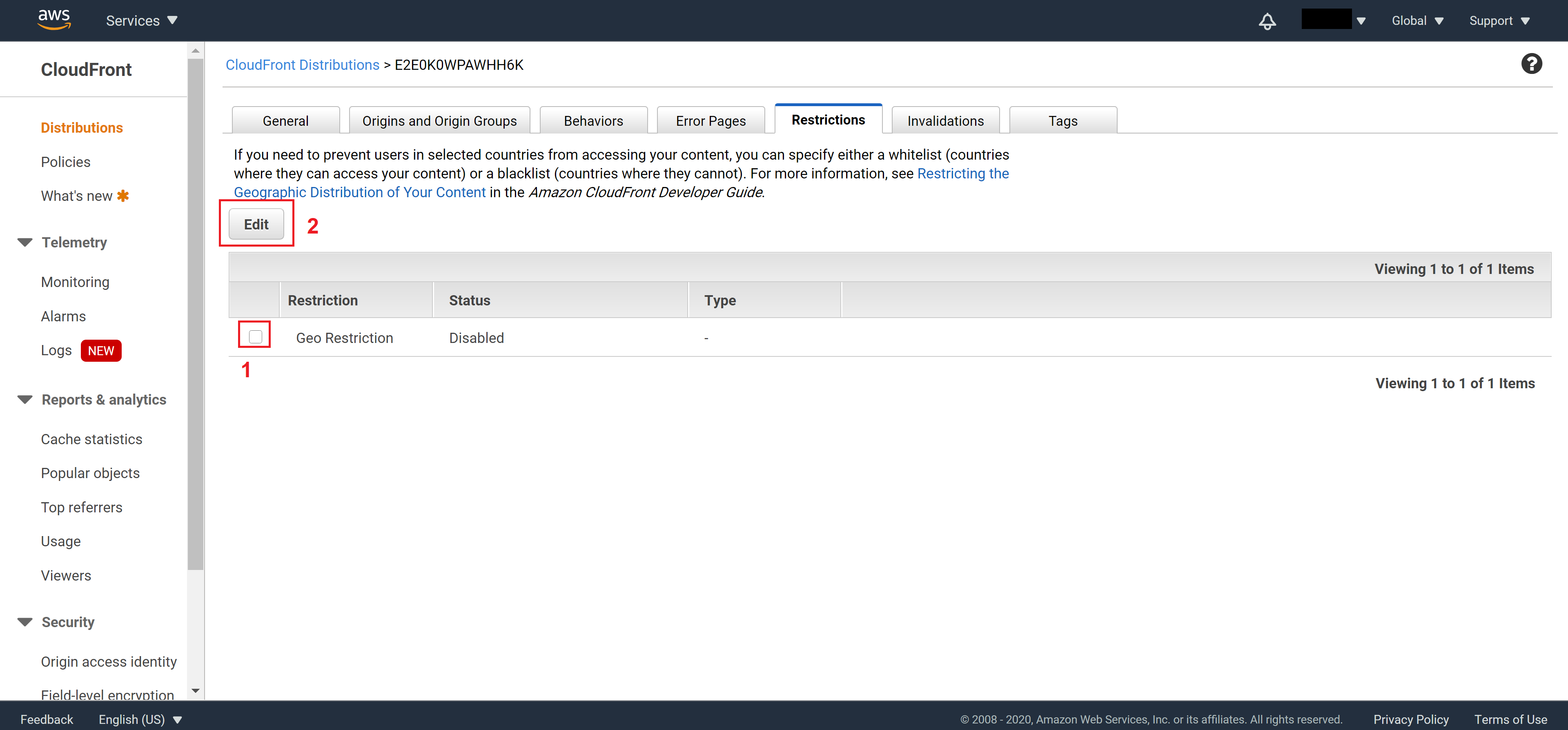 Turn on Geo Restriction on CloudFront