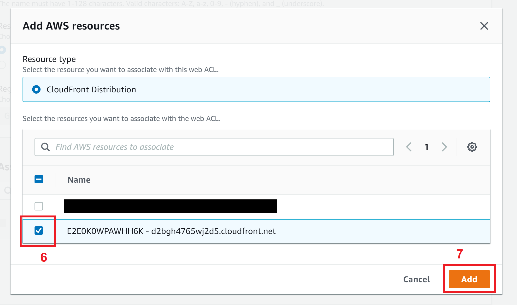 Select CloudFront distribution