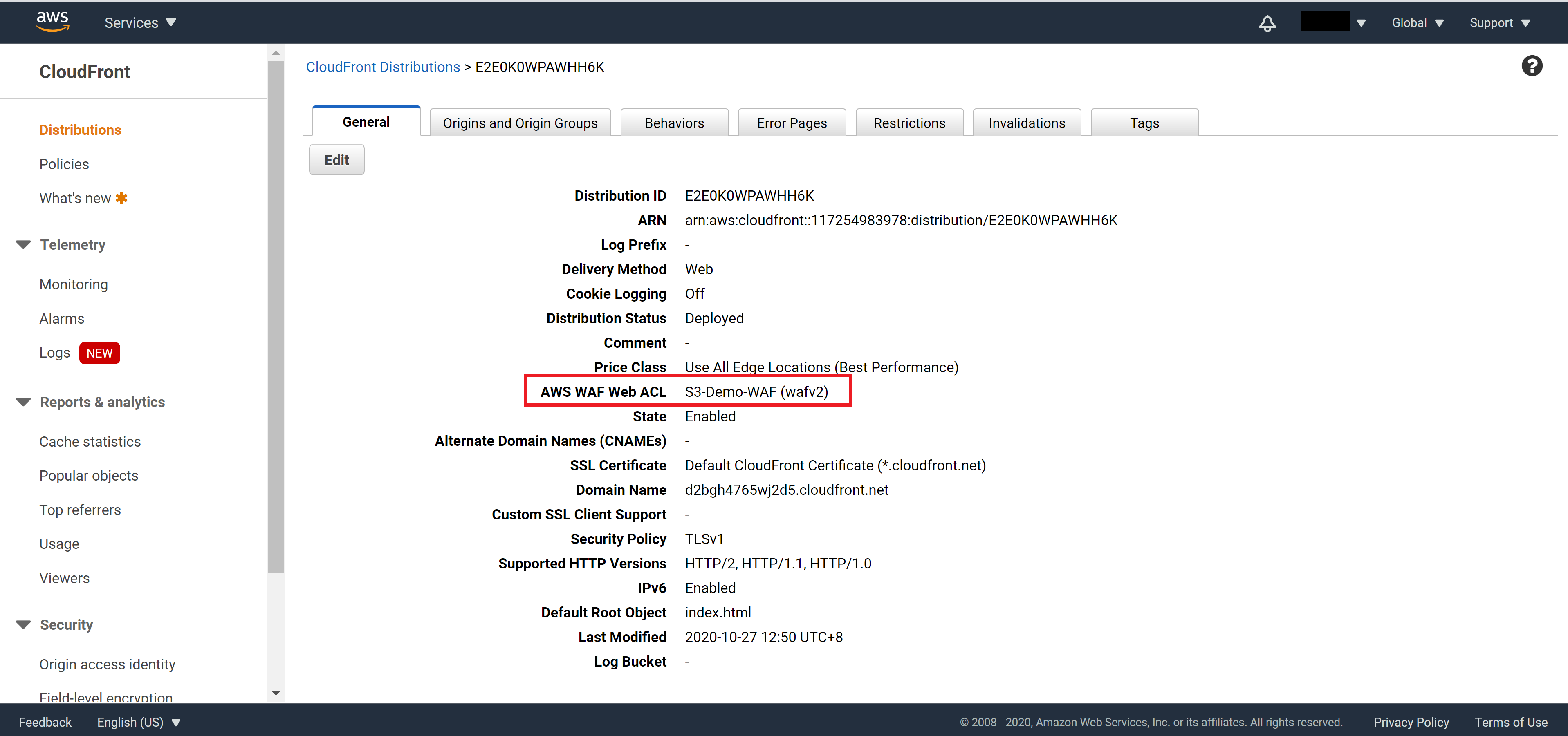 Confirm WAF setting on CloudFront