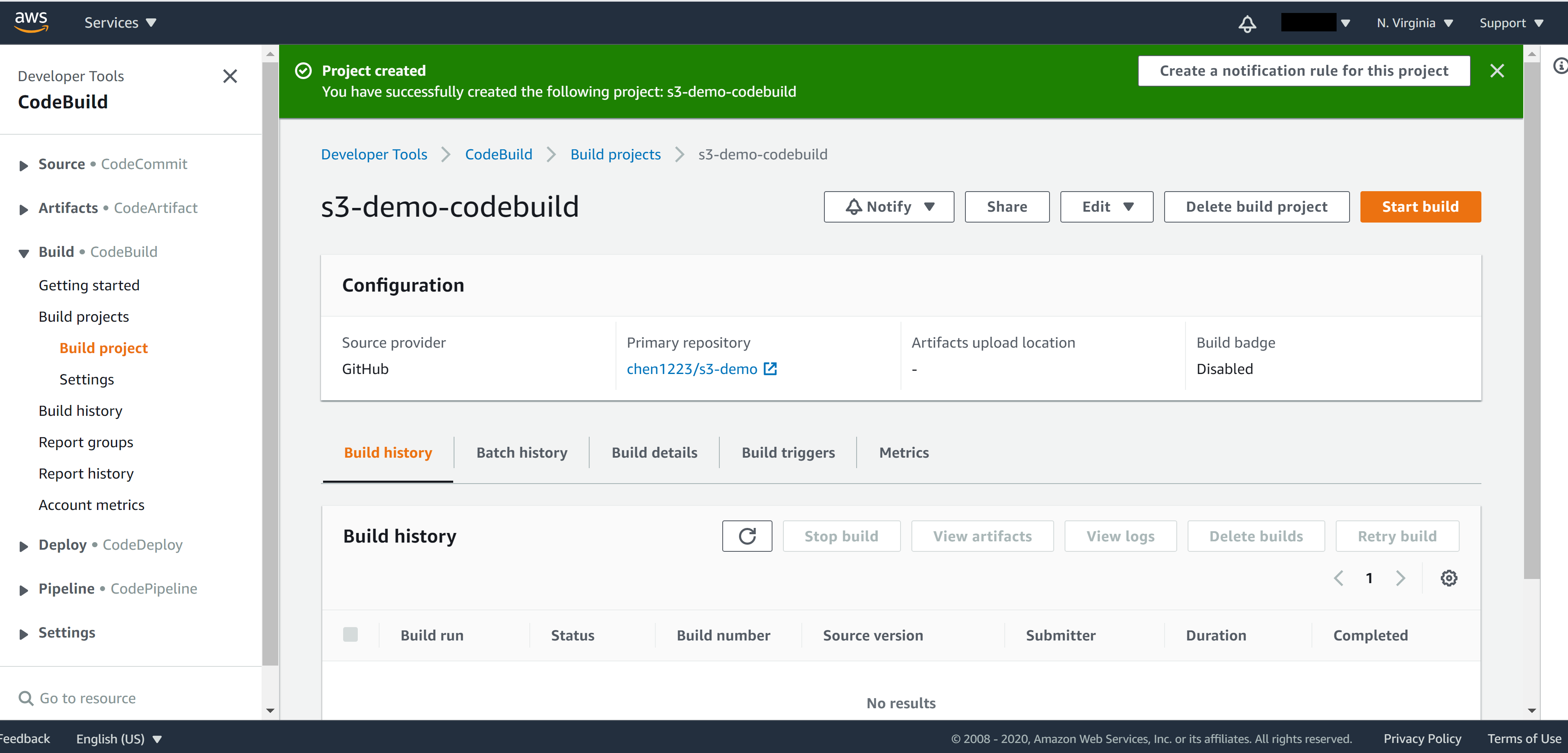 CodeBuild created