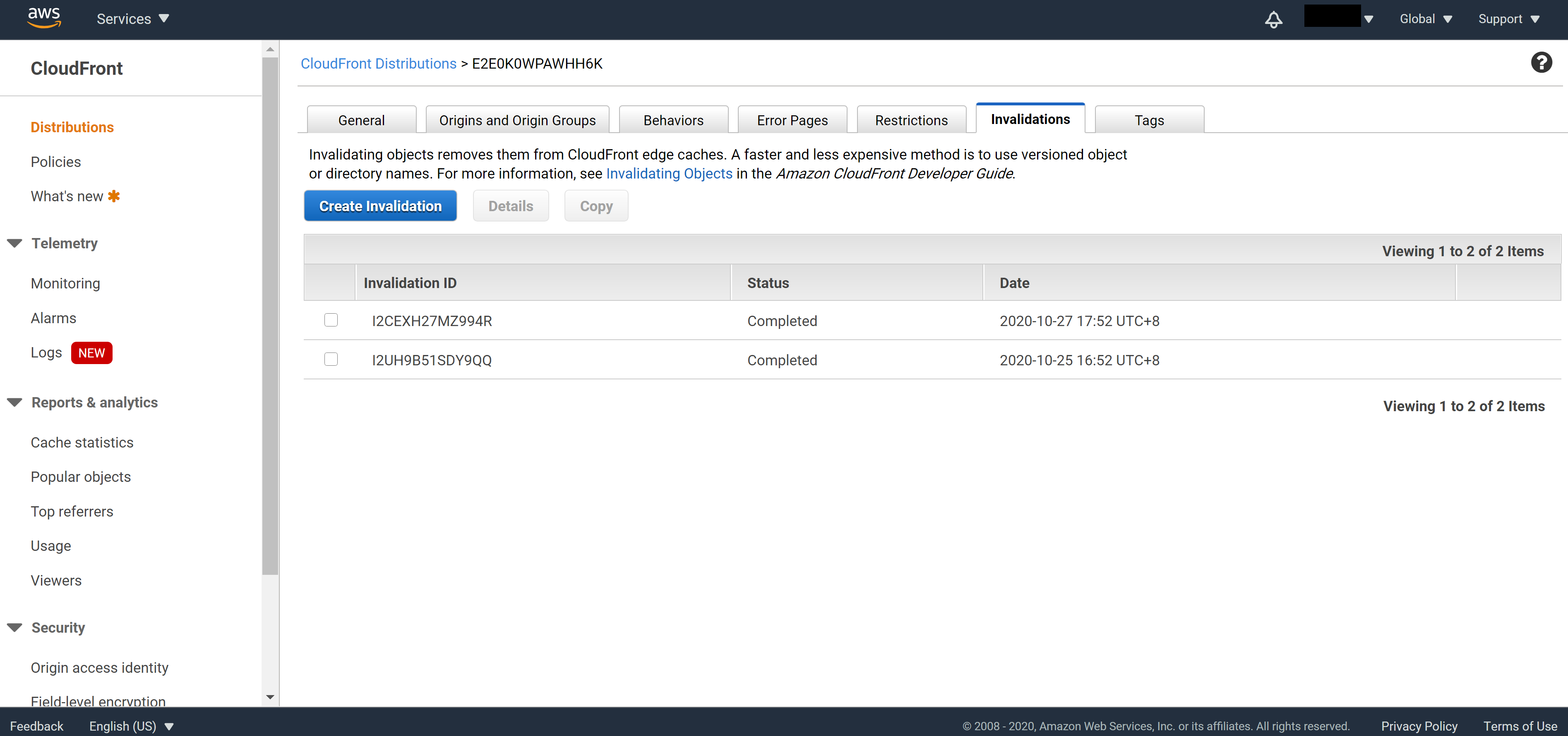 CloudFront validation requested