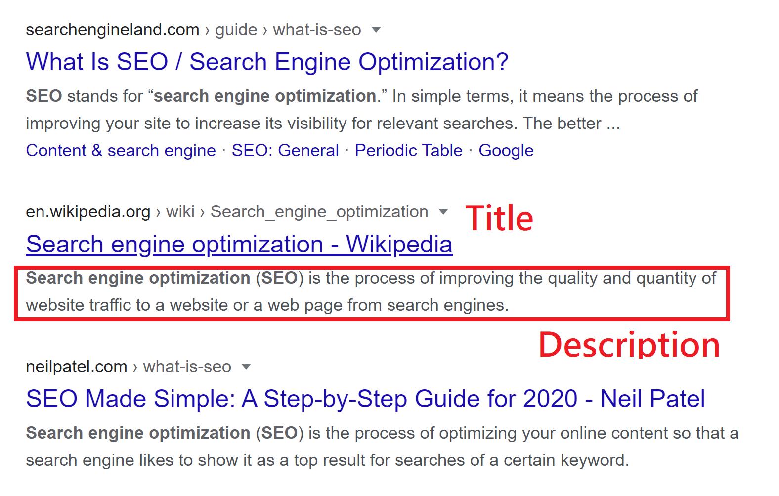 Sample Google search result