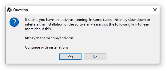 Antivirus program warning
