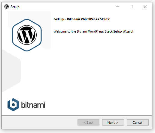 Welcome screen of WordPress installation