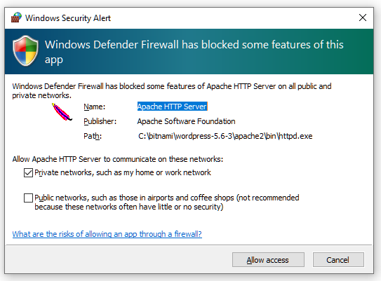Allow Apache HTTP Server