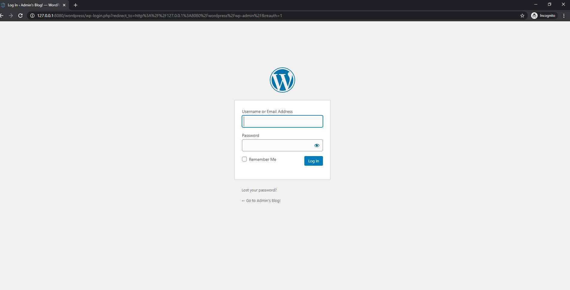 WordPress console login page
