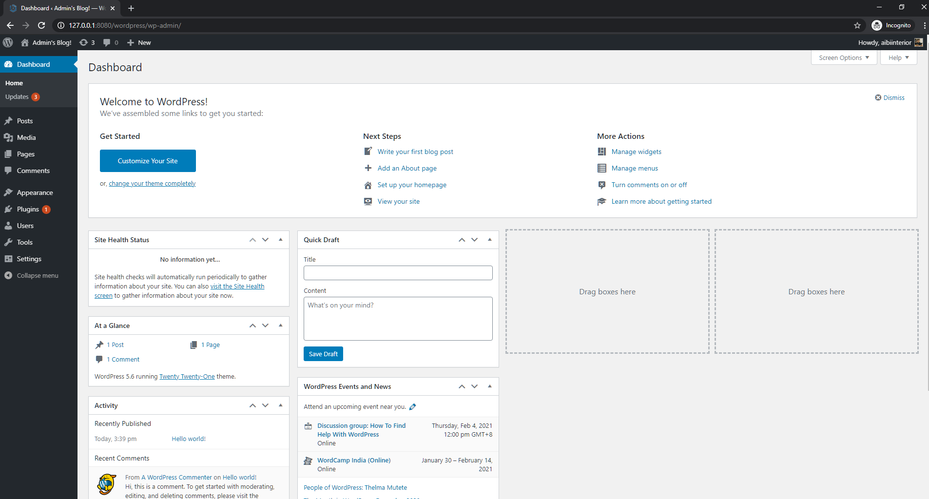 WordPress console