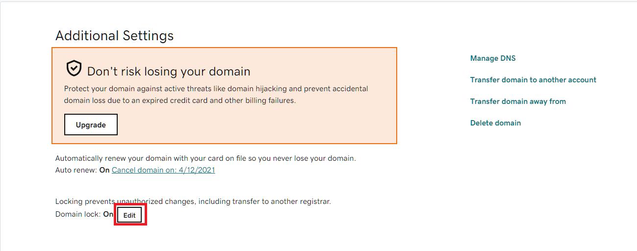 Edit Domain lock