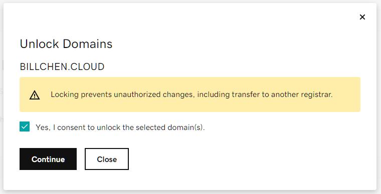Confirm Unlock Domain