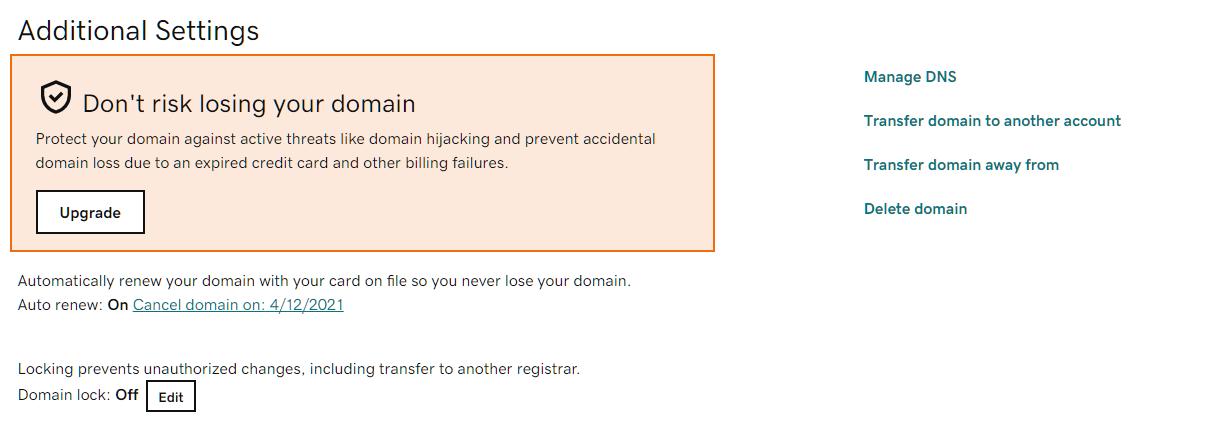 Domain lock Off