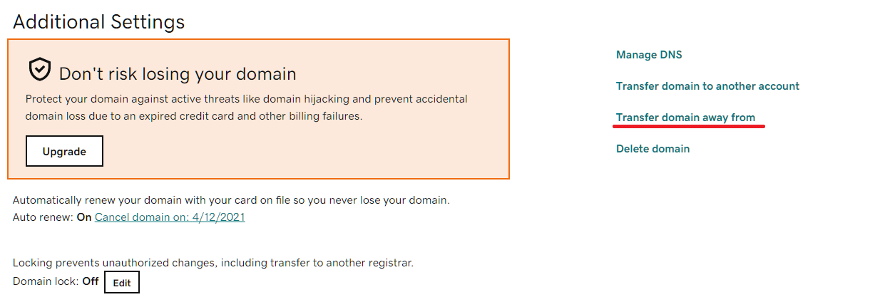 Transfer domain away from