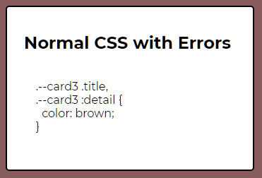 Normal CSS with Errors