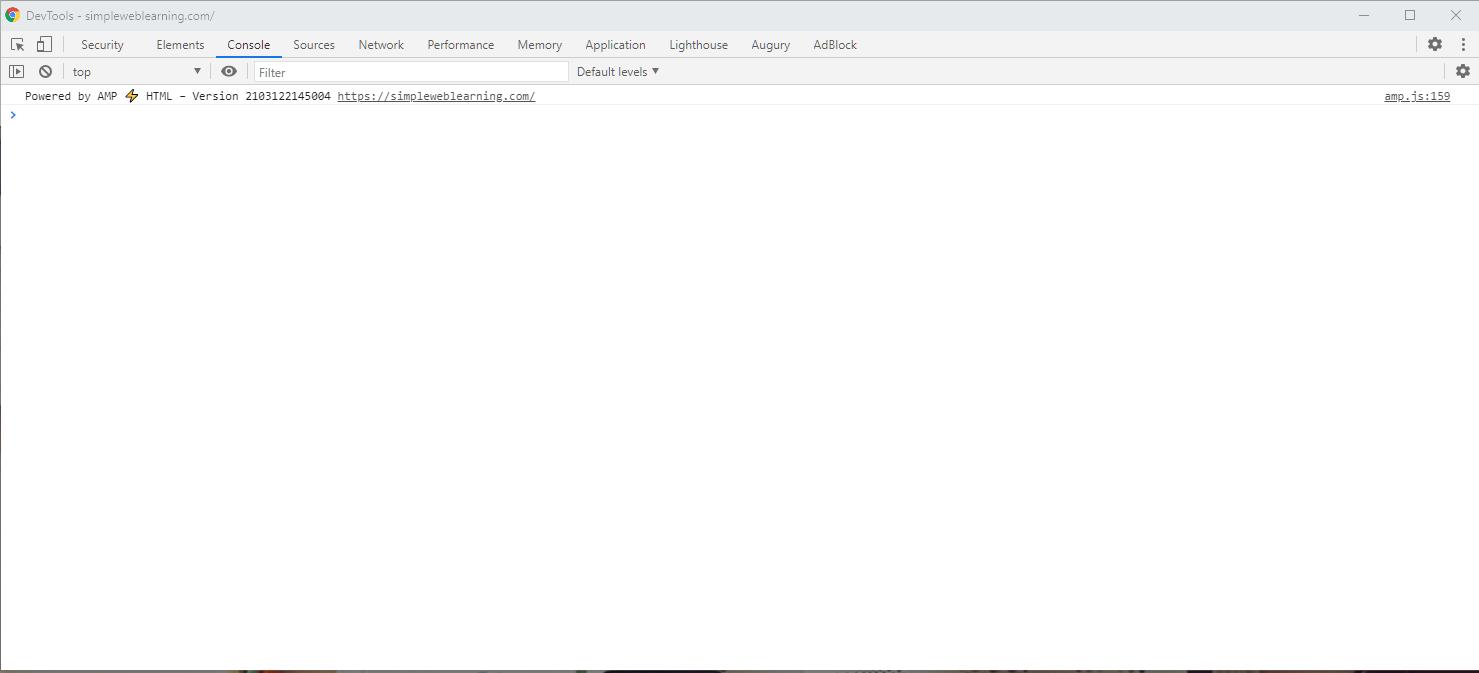 Chrome Developer Tool - Initial Screen