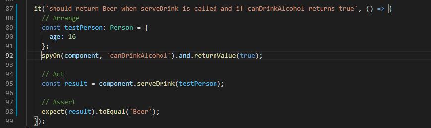 Override function return value test case