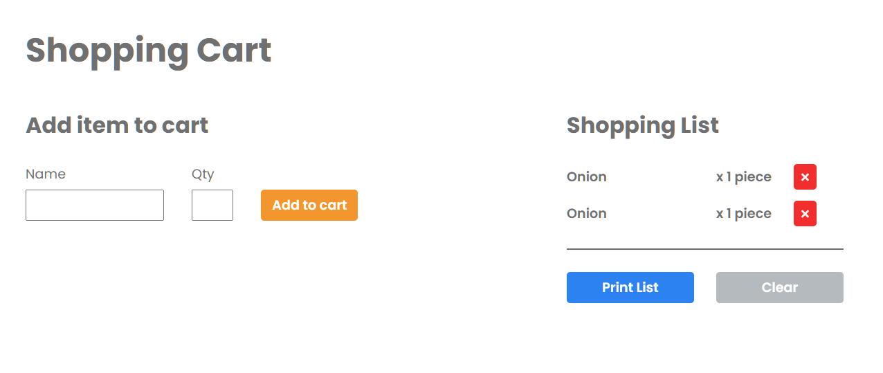 Shopping Cart Application