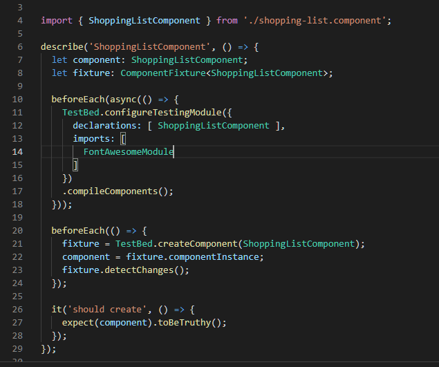 Fix TestBed for the ShoppingListComponent