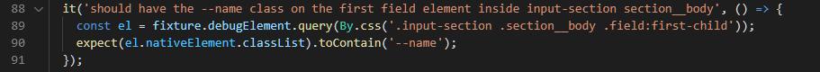 Test DOM element CSS class