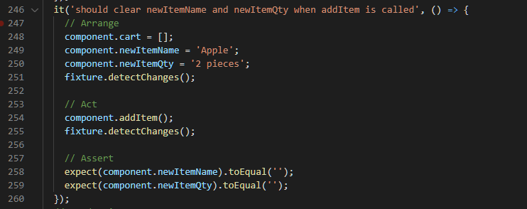 Test newItemName and newItemQty are cleared