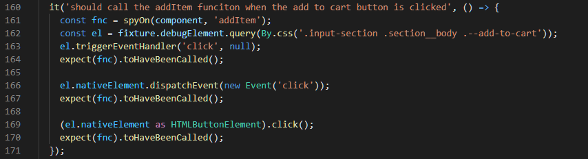 Test function called on event triggered