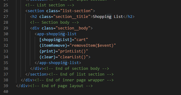 ShoppingListComponent in the home.component.html