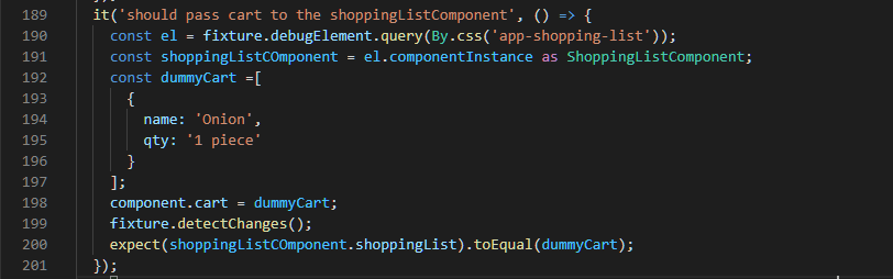 Test input passes to the ShoppingListComponent