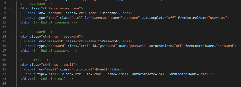 Username, Password, and E-mail HTML