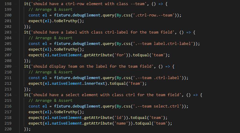 Team HTML Test