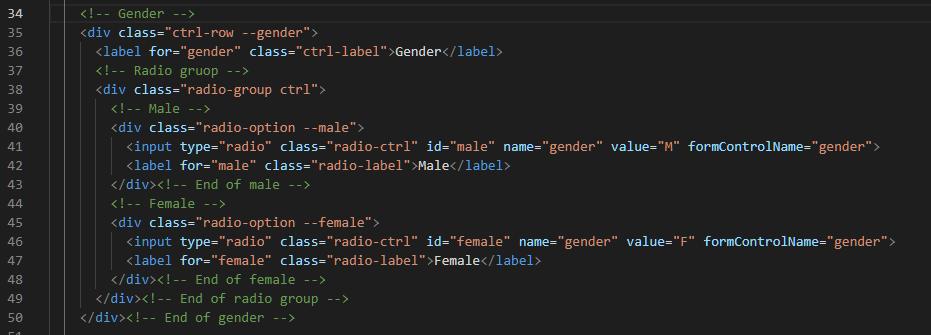 Gender HTML