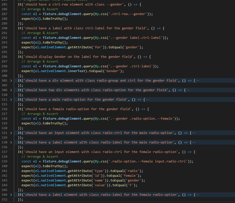 Gender HTML Testing