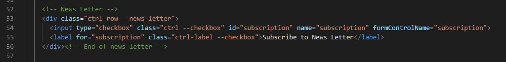 Subscription Checkbox HTML