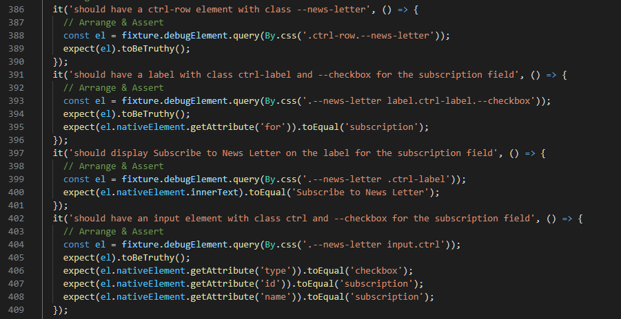 Checkbox Element HTML Tests