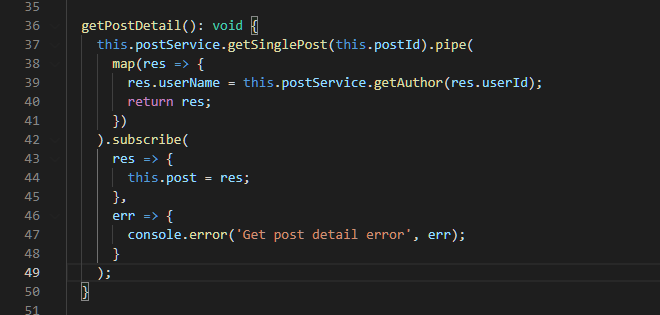 Get Post Detail Method from the SinglePageComponent