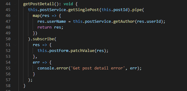 Get Post Detail Method from the NewPostComponent